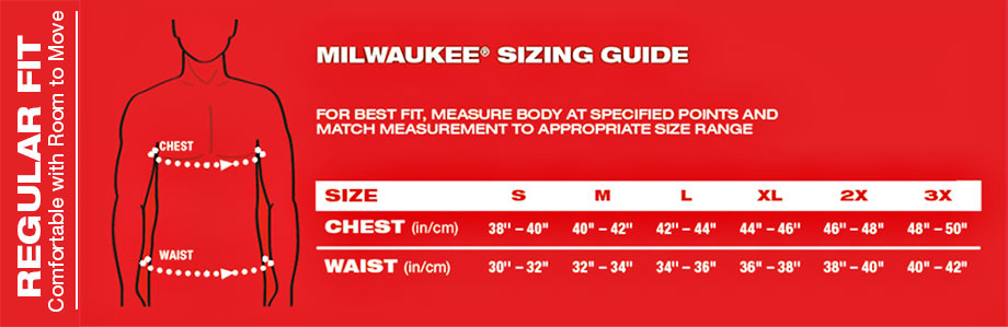 size chart - Milwaukee Heated Hoodie Review